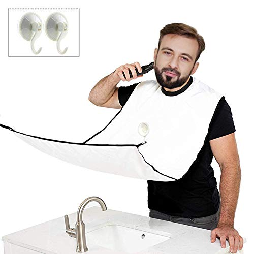JYHY® Grembiule per barba - Grembiule con ventose per specchio.Cattura barba e capelli.Non preoccuparti di rimuovere peli della barba, capelli e baffi-Bianco