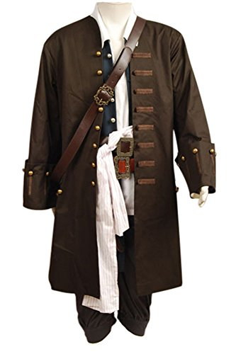 RedJade Pirates of The Caribbean Jack Sparrow Outfit Cosplay Kostüm/ Jacke Weste Gürtel Hemd Hosen Maßanfertigung