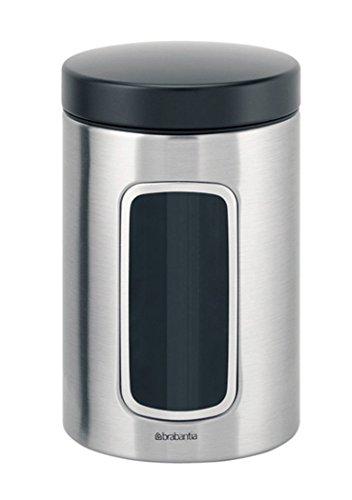 Brabantia Matte Steel Window Canister - Recipiente para alimentos, 1.4L, acero inoxidable, 110 x 110 x 175 mm (1 unidad)