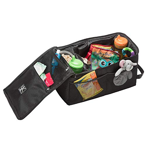 J.L. Childress Backseat Butler Car Organizer, Storage for Kids Drinks, Snacks, Bottles, and Toys. Includes 2 Cupholders and 10 Side Pockets, Portable and Easy to Clean, Black