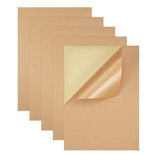 BENECREAT 50 Blatt A4 braun Kraft Label Sticker selbstklebend klebrige Rückseitenadressetiketten Druckpapier Blatt für Tintenstrahldrucker