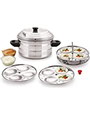 BMS Lifestyle 4-Plates Stainless Steel Idly Maker/Cooker (4-Plates, 16 Idlis)