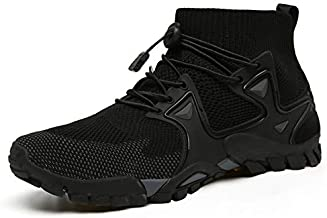 ABAO Hiking Shoes Mens Womens Outdoor Athletic Sports Shoes Walking Shoes Trail Running Shoes Trekking Climbing Stylish Slip Resistant Fitness Walking Jogging Sock Sneakers Travel Lightweight Barefoot, Black, 8.5 Women/7 Men