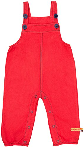 loud + proud Jungen Latzhose Rippenstruktur Hose, Rot (Tomato to), 104
