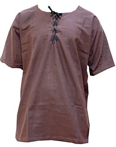 Trollfensen Mittelalterliches Hemd Kurzarmhemd Jakob Farbe Braun 100% Baumwolle, LARP-Gewandung Herren Rollenspiel Cosplay - XL