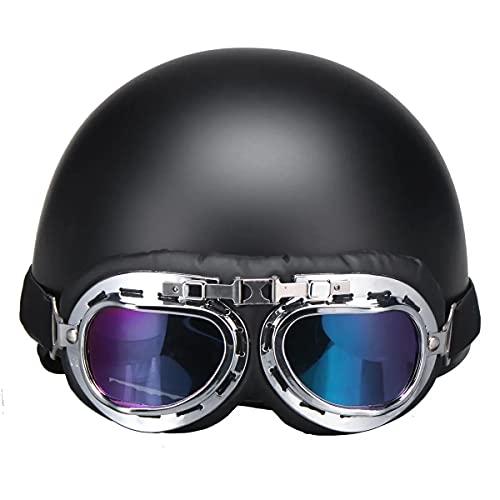 chusike Casco de Motocicleta, protección contra la Cabeza, Casco de Motocicleta de Vendimia Retro, Seguridad Media Casco y Sun Visera Gafas de Sol