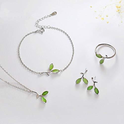 guodong Conjunto de joyería de Hoja clásica para Mujer, Pendientes Colgantes de Color Plateado con Encanto para Mujer, Bonito Collar de Cadena de Piedra Lunar Verde, Pulsera, Anillo