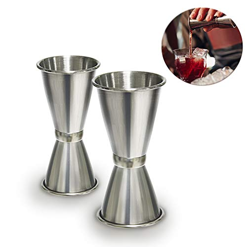 Jigger Edelstahl - WENTS 2 Stück Cocktail Jigger Dual Spirit Measure Cup Drinks Measuring Cup 20&40ml and 30&50ml
