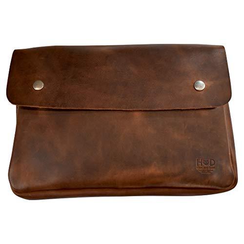 Hide & Drink, Vintage Leather Folder Document Holder, File Case, Document Portfolio & Binder Strapless Carry On Bag, Office & Work Essentials, Handmade (Bourbon Brown)