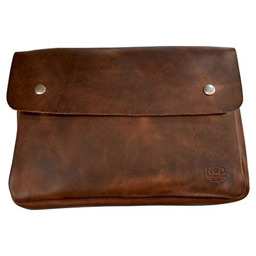 Hide & Drink, Vintage Leather Folder Document Holder, File Case, Document Portfolio & Binder Strapless Carry On Bag, Office & Work Essentials, Handmade Includes 101 Year Warranty :: Bourbon Brown