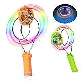 Magnetic Gyro Wheel LED Flashing Spinning Top Magic Spinning Top Laser Led Gyro Flashing Spinning Top Magic Rail Rolling Flywheel YO-YO Ball Toy for Kids Gifts (Green)