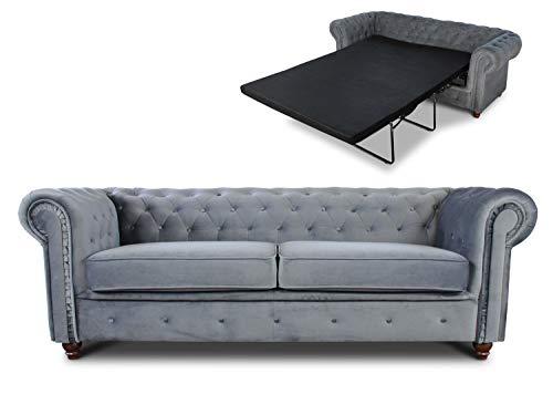 Schlafsofa Chesterfield Asti Bis 3-Sitzer, Sofa mit Schlaffunktion, Couch 3-er, Couchgarnitur, Sofagarnitur, Holzfüße, Polstersofa (Grau (Velvet 10))