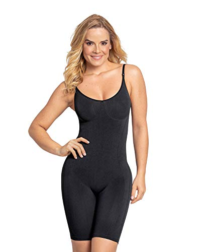Leonisa Full Body Shaper with Tummy Control and Butt Lifter Effect for Women - Compression Shapewear Bodysuit Black