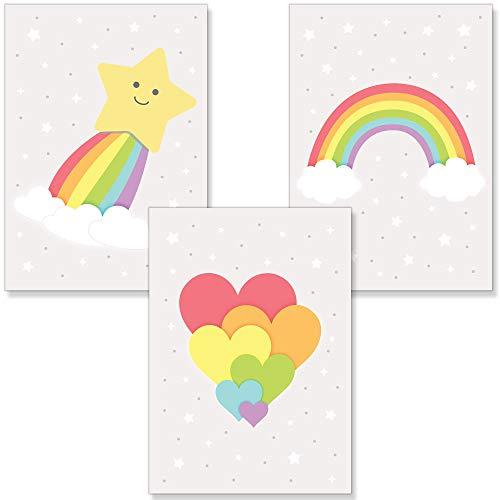 PREMYO Cuadros Infantiles Habitación Niña Niños - Láminas Decorativas para Enmarcar - 3 Póster Arco-iris Estrella A4