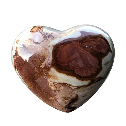 "favoramulet Natural Ocean Jasper Puff Heart, Polished Palm Worry Love Pocket Stone Healing Crystal 2.2""-2.6"""