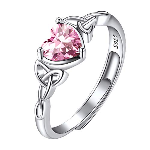 925 Sterling Silver October Birthstone Rings, Womens Birth Stone Jewellry Ring Celtic Triquetra Knot Pink Crystal Heart Shaped Dainty Adjustable Rings for Women Girls