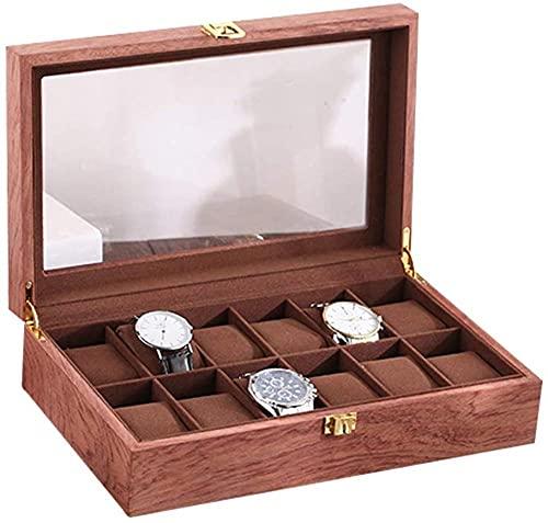 T.T-Q Caja de Reloj de 12 dígitos Cajas para Relojes Caja de Almacenamiento de Madera Retro Caja de presentación Caja de Acabado Regalo de cumpleaños 32 * 22 * 8 cm