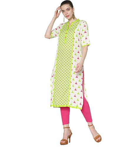 Morpankh By FBB Women's Polyester and Rayon Printed Straight Kurta...