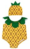 Yellow Bee Girls Pineapple Swim Suit with Cap, Yellow, L, 2-3 Years