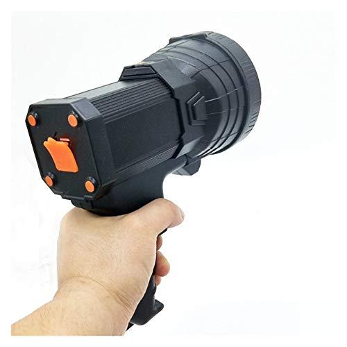 Linterna USB portátil de iluminación linterna portátil reflector LED de gran alcance de 500 metros for la caza de patrulla linternas de luz portátil (Body Color : Black, Emitting Color : Yellow)