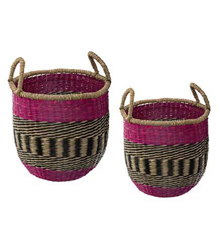 Juego de 2 cestas de México de pastos marinos