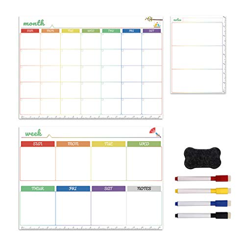 MISHITI Kit de Pizarra Blanca magnética, Diario, semanal, mensual, Calendario, Nevera, imán, bolígrafo