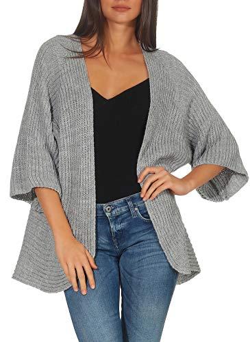 Malito Mujer Lana-Chaqueta Superior Cardigan Suéter Pullover 0185 (Adecuado de la Talla 40 hasta 46, Gris Claro)