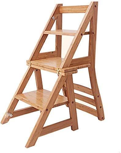 RUXMY Ausziehbarer tragbarer Fußhocker, 3 Stufen - Klappbarer Leiterstuhl aus Holz, Home Multifunktions-Tritthocker +