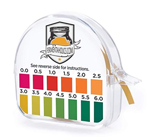 Kombucha Instant Read pH Strips Dispenser - pH Range 0-6 - 15 ft Roll | 180 1' Inch Strips | Single Roll | Food Service, Brewing and Fermentation Test Strips