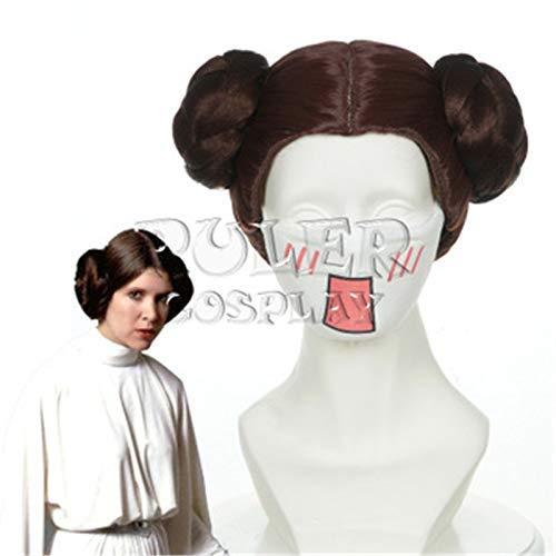 AMITD Film Star Wars Prinzessin Leia Organa Solo Perücke Kurze braune Cosplay Perücken mit Zwei Brötchen für Halloween Kostüm Requisiten + Perückenmütze