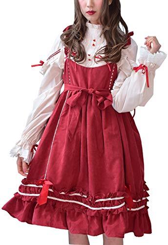 (Lady Oliver) ワンピース レディース ブラウス ロリータ Lolita ドレス 長袖 ジャンパースカート (L, ブラウス(ピンク))