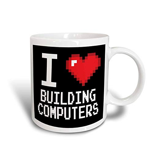Eastlif Taza de cerámica Geeky Old School Pixels de 8 bits I Heart I Love Building Computers, Color Blanco