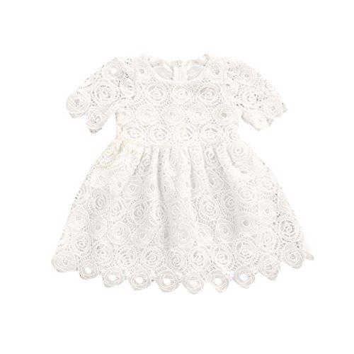 Babykleidung URSING Baby Mädchen Blumen Spitzenkleid Kurzarm Prinzessin Kleid Formal Kleider Sundress Outfits Sommerkleider Babymode Blumenmädchenkleid Partykleid Mini Kleid (80, Weiß)