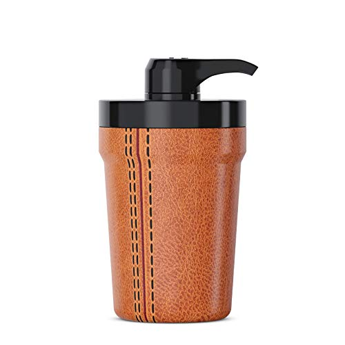PumpCup Portable Hand Sanitizer Dispenser for Car Cup Holders (Tan Leather Look)