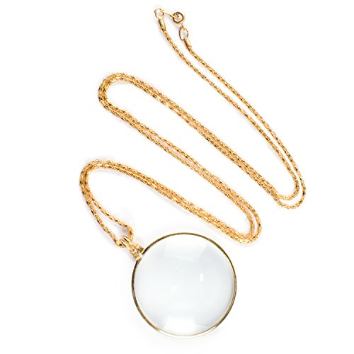 Price comparison product image Necklace with 1-3 / 4 Inch Optical Magnifier Lens and 36-Inch Gold Chain for Library,  Reading Fine Print,  Zooming,  Increase Vision