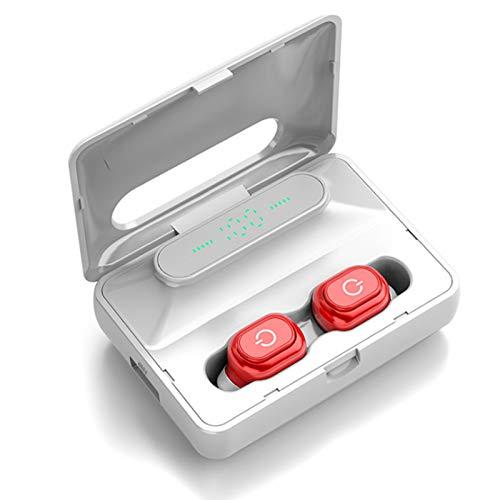 Wsaman Auricular Bluetooth 5.0 Inalambricos, Auriculares para Trabajo y Deportes Viaje, con 2000mAh Caja de Carga para Deportes, Oficina en Casa, Trabajo,TWS Deportivos Auriculares,Rojo