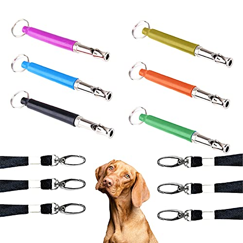 Broadsheet 6 Pcs Dog Training Whistles, Adjustable Pitch Silent Dog Whistle to Make Dogs Come to You Puppy Bark Control Training Tool with Lanyards and Key Ring for Pet Dogs Training (6 Colors)