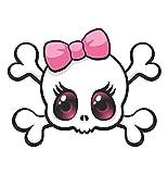 Magnet Pink Bow Skull Magnetic vinyl bumper sticker sticks to any metal fridge, car, signs 5'
