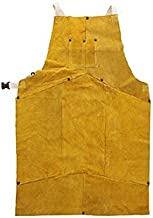 Holulo Welding Bib Apron Cowhide Split Leather Safety Apparel Flame Resistant Apron With Pocket Yellow (7 splicings with 1 pocket (larger size))