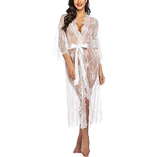 Yiyu Damen Dessous Kleid Lang Kimono Spitze Negligee Nachtwäsche Transparente Robe Set Cardigan Mit Gürtel Und G-String Bikini Cover Up x (Color : White, Size : S)