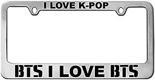 The ArtDeco I Love K-POP/I Love BTS - Silver Chrome - License Plate Frame + Bonus BTS Decal Shiny Chrome/Universal Fit (Silver Frame)