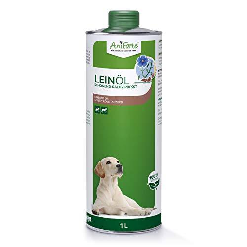AniForte Leinöl Pferde & Hunde 1 Liter - Öl Kaltgepresst, Nativ, Reich an Omega 3 & Omega 6 Fettsäuren, Leinöl Hunde als Barf Zusatz, Hochwertiges Leinöl für Tiere, Recyclebare Verpackung ohne BPA