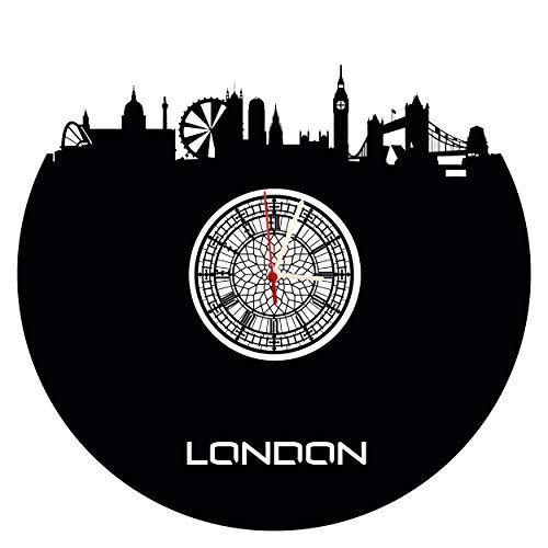Wanduhr London Skyline mit Big Ben Ziffernblatt, hochwertige Acrylglas Uhr mit lautlosem Quarzwerk, 3mm Stärke