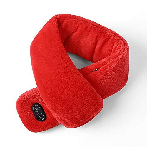 Bufanda de Invierno con Calefacción Vibración Masaje Pañuelo para el Cuello Impermeable Recarga USB Doble Interruptor Bufanda para Ciclismo Deporte al Aire Libre,Red