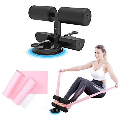 Sit Up Bar Assistent dispositivo con bandas de resistencia, 2 ventosas, barra de abdominales ajustable, barra de sentadillas para suelo, equipo de ejercicio para el hogar o el trabajo