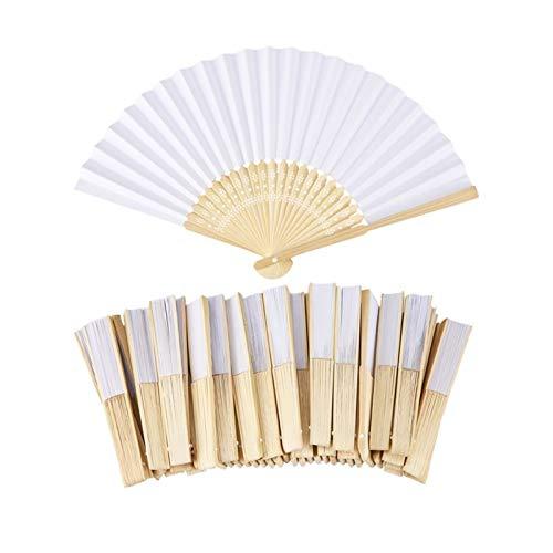 Abanico de mano pequeño plegable de madera, 50 unidades, color blanco, elegante,...