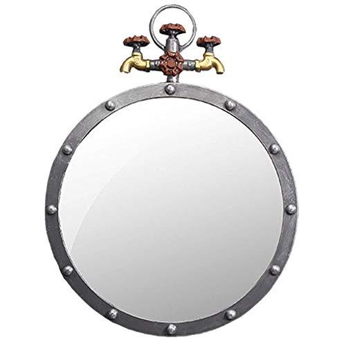 WYNZYYX Antike Metallwand Runder Spiegel Retro Eisen Badezimmer Wasserhahn Industrial Design Hängende Spiegel for Eingänge, Waschräume, Wohnzimmer, W50 × T5 × H65cm Dekorativer Spiegel