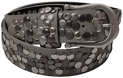 styleBREAKER cinturón de remaches en estilo vintage, reducible 03010008, color:Gris oscuro, tamaño:85cm (Ropa)