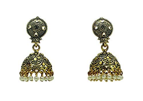 Pendientes JHUMKA chapados en oro oxidados hechos a mano con perla blanca