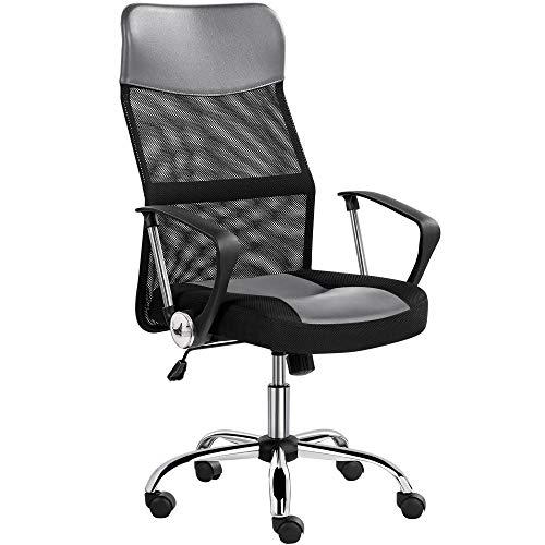 Yaheetech Bürostuhl, Schreibtischstuhl, ergonomischer Computerstuhl, 360° Drehstuhl, chefsessel mit kopfstütze, Hohe Netzrückenlehne, für's Büro oder Home-Office Grau